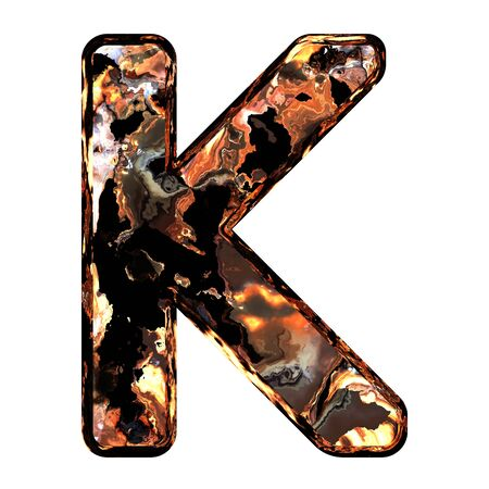 dross: Abstract rusty grunge font. With clipping path. Capital letter K