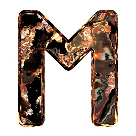 Abstract rusty grunge font. With clipping path. Capital letter M photo