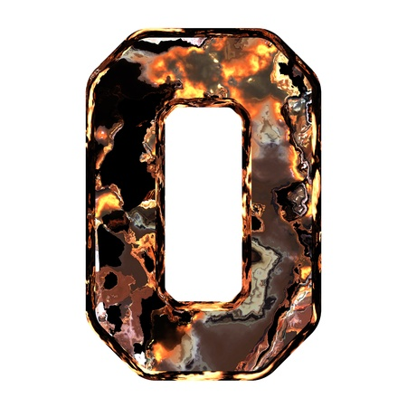 dross: Abstract rusty grunge font. With clipping path. Capital letter O