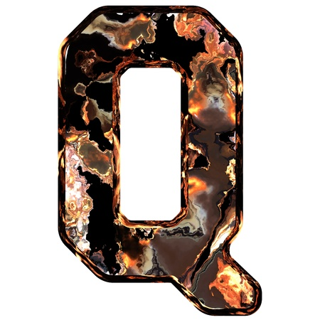 dross: Abstract rusty grunge font. With clipping path. Capital letter Q Stock Photo