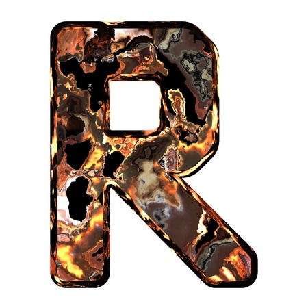 dross: Abstract rusty grunge font. With clipping path. Capital letter R Stock Photo