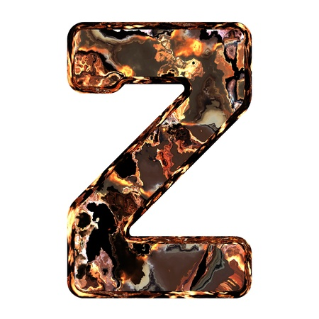 dross: Abstract rusty grunge font. With clipping path. Capital letter Z