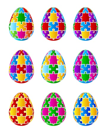 Isolated  Jigsaw Puzzle Easter Eggs  Vector Vector