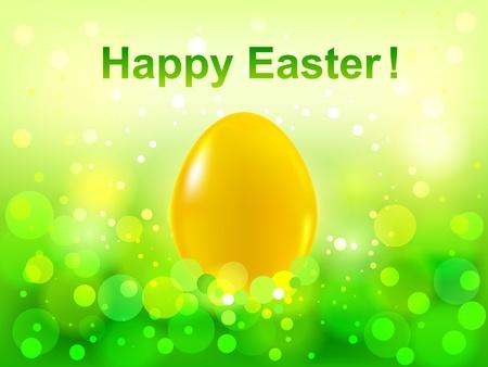 Easter green  bokeh background  Happy Easter Illustration