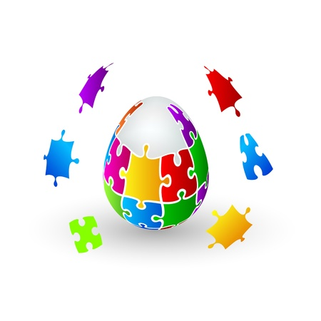 Isolated  Jigsaw Puzzle Easter Egg Vector