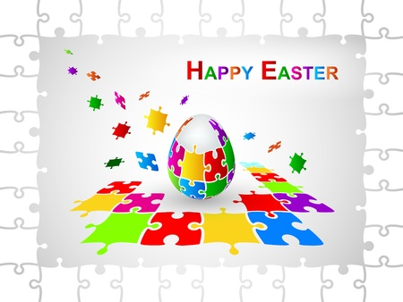 Easter Egg Jigsaw Puzzle Background Vector