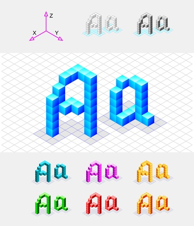 Isometric font from the cubes Letter A  Vector Vector