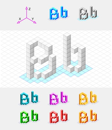 Isometric font from the cubes Letter B  Vector Illustration
