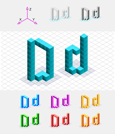 Isometric font from the cubes Letter D  Vector Vector