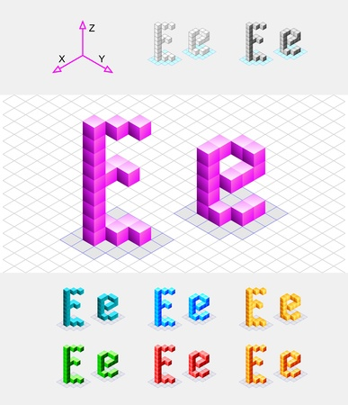 Isometric font from the cubes Letter E  Vector