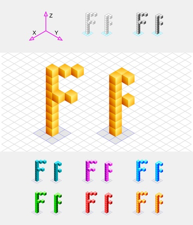 xyz: Isometric font from the cubes Letter F  Vector Illustration