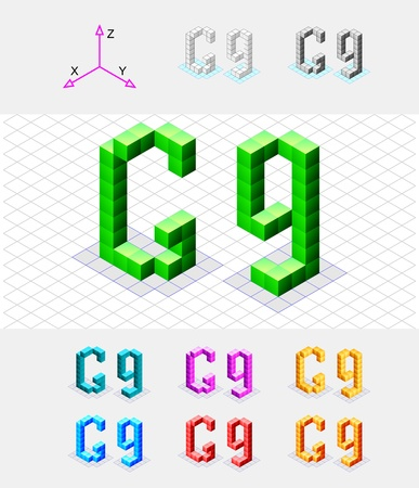 case studies: Isometric font from the cubes Letter G  Vector