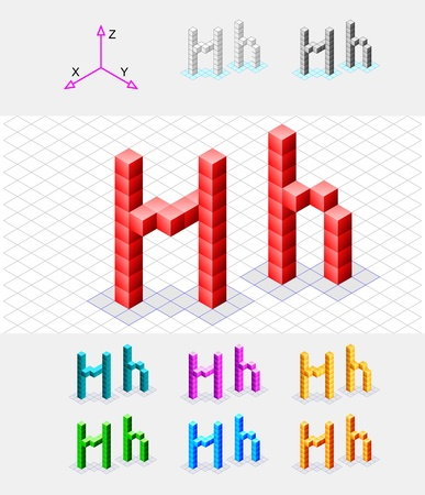 xyz: Isometric font from the cubes Letter H  Vector