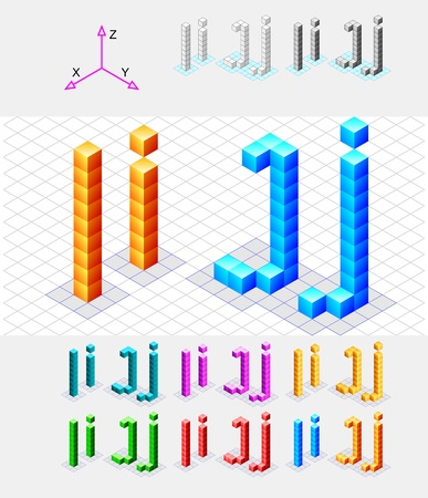 Isometric font from the cubes Letters I and J  Vector Stock Vector - 13733062