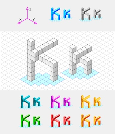 Isometric font from the cubes Letter K  Vector Stock Vector - 13733053