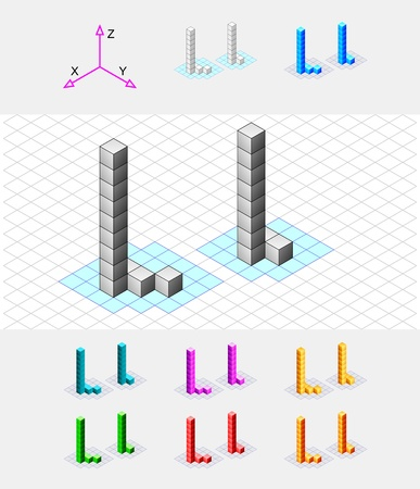 case studies: Isometric font from the cubes Letter L  Vector Illustration