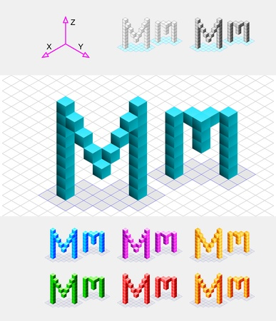 case studies: Isometric font from the cubes Letter M  Vector