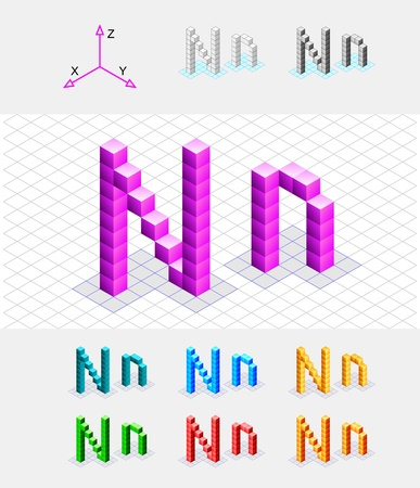 Isometric font from the cubes Letter N  Vector