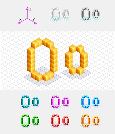 xyz: Isometric font from the cubes Letter O  Vector
