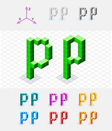 xyz: Isometric font from the cubes Letter P  Vector Illustration