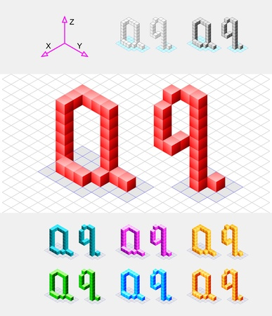 Isometric font from the cubes Letter Q  Vector Stock Vector - 13733058