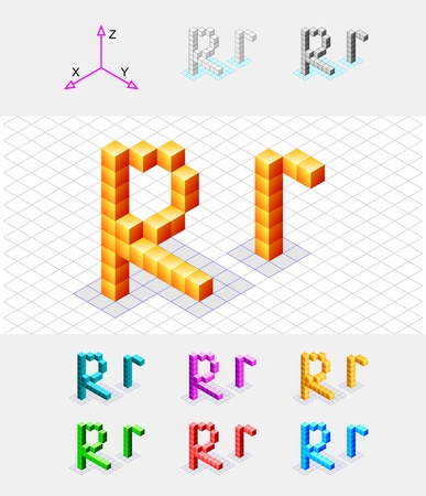 xyz: Isometric font from the cubes Letter R  Vector