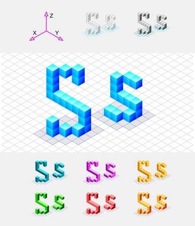 xyz: Isometric font from the cubes Letter S  Vector Illustration