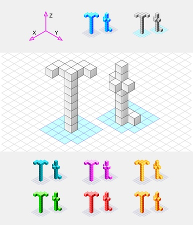 Isometric font from the cubes Letter T  Vector Vector