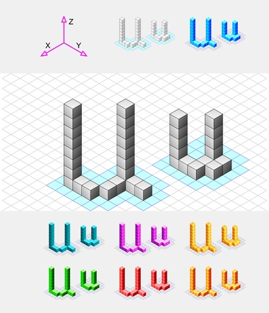 Isometric font from the cubes Letter U  Vector Stock Vector - 13733057
