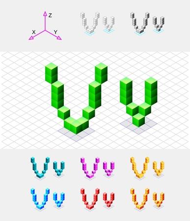 xyz: Isometric font from the cubes Letter V  Vector Illustration