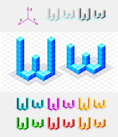 xyz: Isometric font from the cubes Letter W  Vector