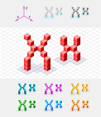 xyz: Isometric font from the cubes Letter X  Vector Illustration