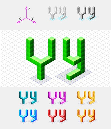case studies: Isometric font from the cubes Letter Y  Vector Illustration