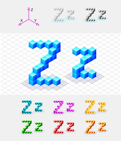 xyz: Isometric font from the cubes Letter Z  Vector Illustration