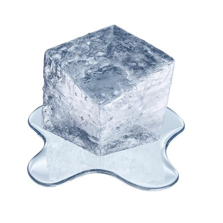 winter thaw: Melting ice cube