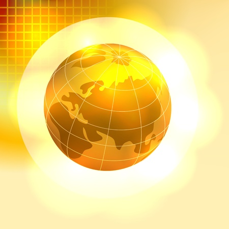 golden globe: Gold Earth background