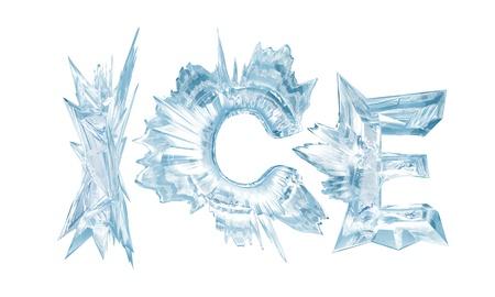 Las cartas de cristales de hielo la palabra-hielo Foto de archivo - 14325372