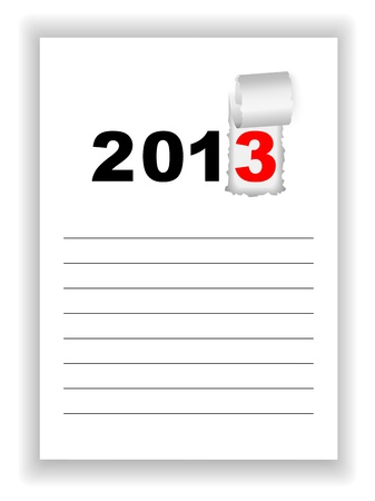 New Year s sheet notebook with the words 2013