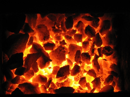 coal fire: Background of the embers in the furnace Stock Photo