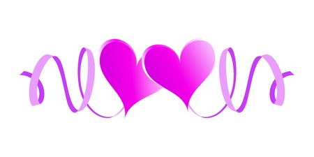 Two enamored hearts with ribbons  Pink design element Vector