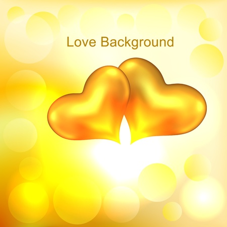 Background with two gold hearts Stock Vector - 17756338