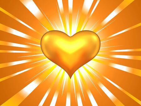 Golden heart background with rays Stock Vector - 17756349