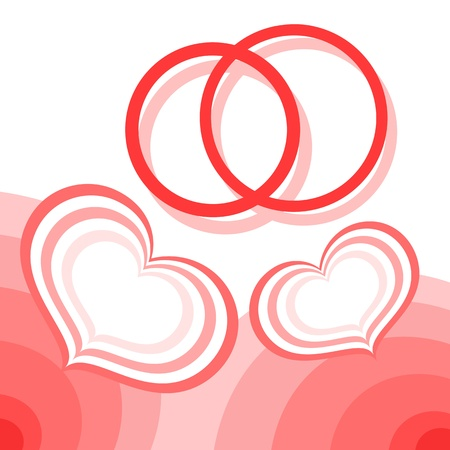 Hearts and wedding rings Stock Vector - 17756346