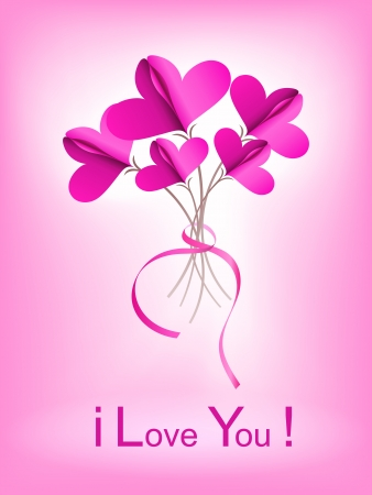Abstract bouquet of paper  connected hearts on pink background Vector