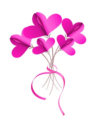 Abstract bouquet of paper  connected hearts Stock Vector - 17756341