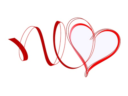 Heart with ribbons  Red design element Stock Vector - 17756333