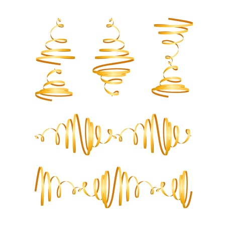Festive gold streamers Stock Vector - 18012238