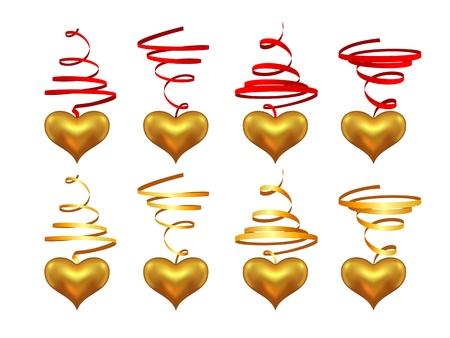 Hearts on a streamer Stock Vector - 18012260