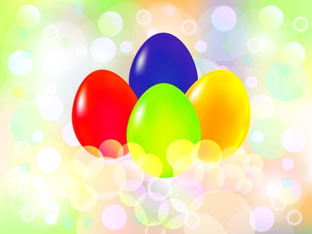 Happy Easter background with four Eggs Vector