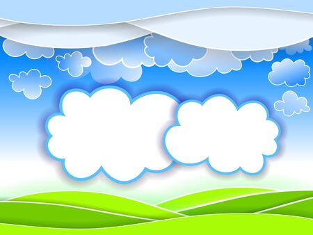 Abstract landscape background with clouds